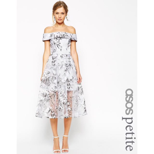 a837b85bb0f ASOS PETITE SALON Bardot Dress In Organza Floral Midi