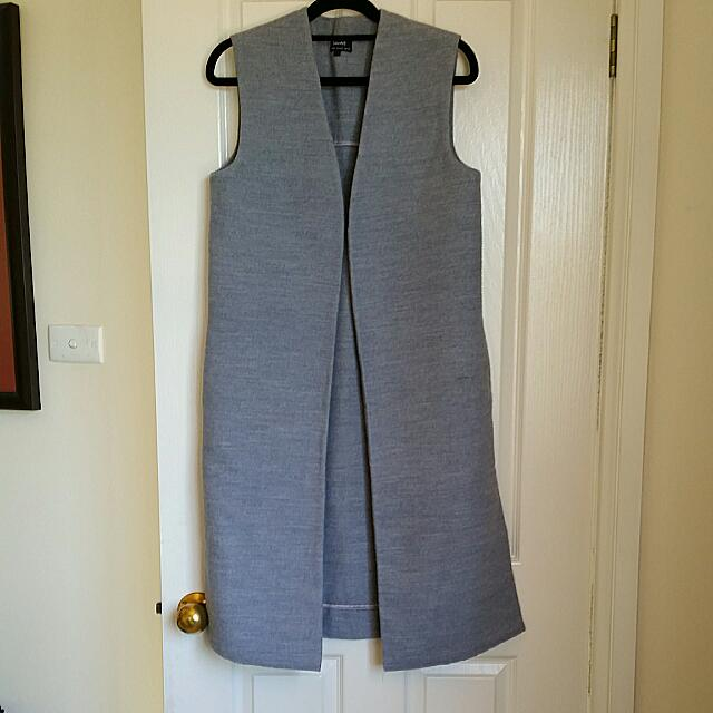 BARDOT Long Duster Vest Sleeveless Coat Grey Size 8