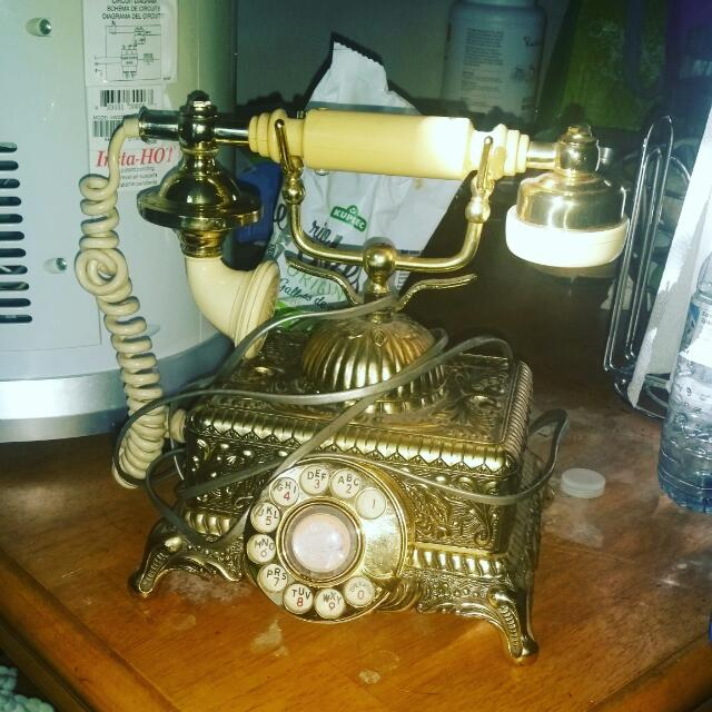 Beaytuful Antique  Brass Rotary Phone