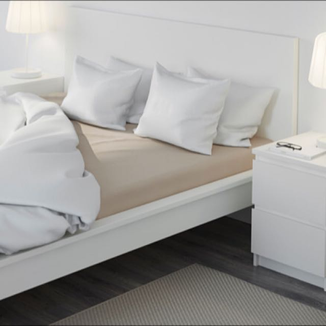 Bed Frame And Mattress (IKEA High White MALM Full Size With Bed Base)
