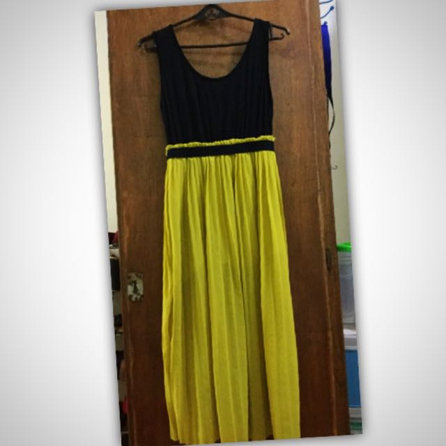 Black and Yellow Long Dress