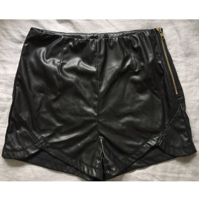 Black Faux Leather Shorties