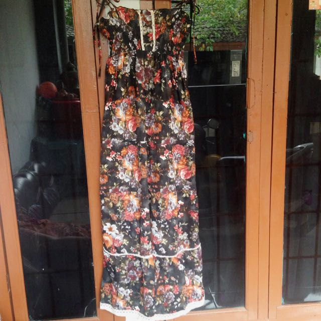 Black Flowers Long Dress
