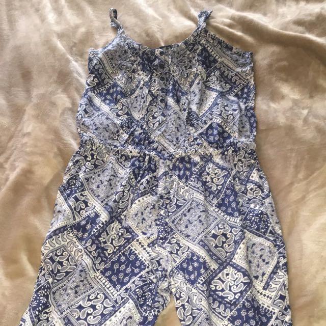 Blue Patterned Jumpsuit