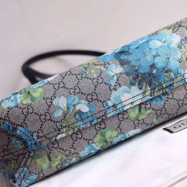 6170d5b12483 Brand New Blue Floral Blooms Leather Turnaround Reversible Tote. Not Gucci. Reversible  Bloom GG.