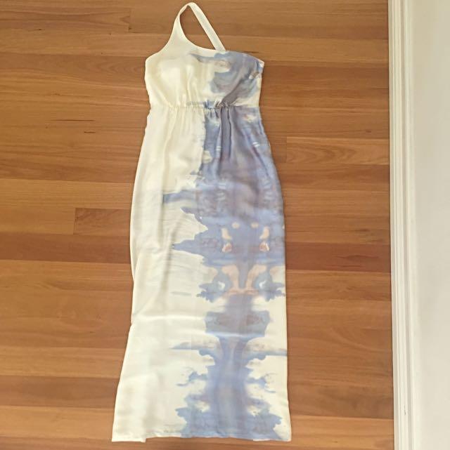 Cooper St Maxi One Shoulder Dress, Blue Watercolour Print