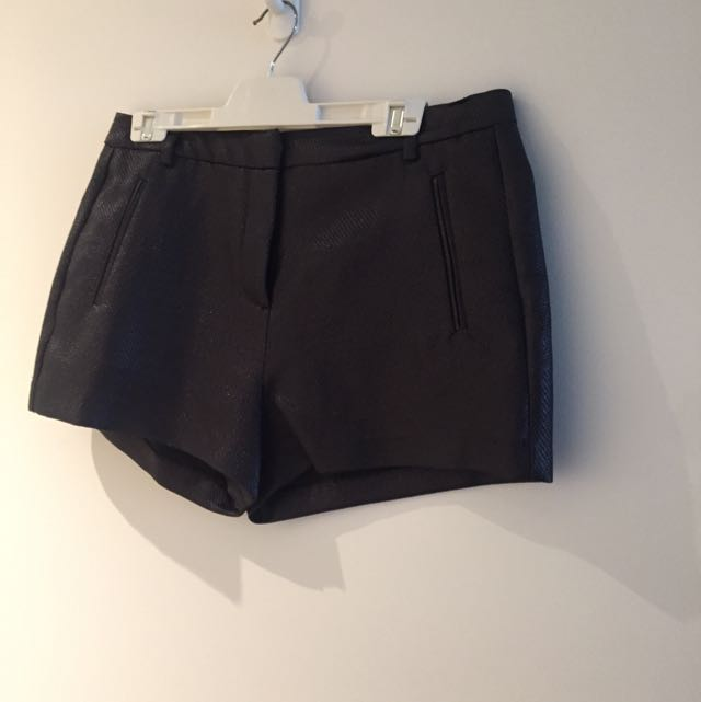 Country Road - Black Shiny Shorts Size 10