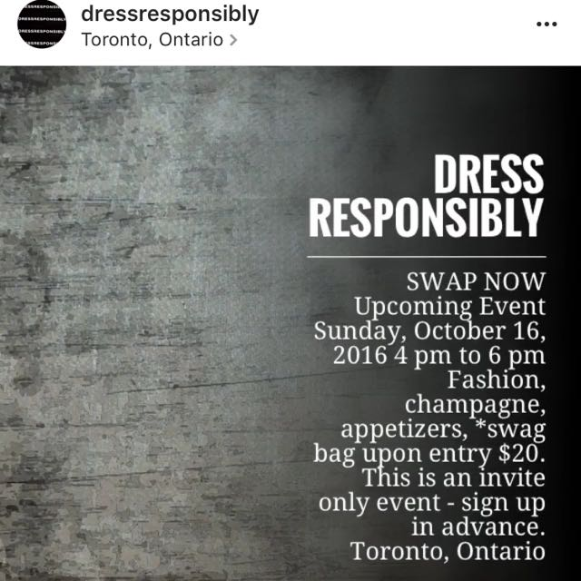 DRESS RESPONSIBLY Swap Now Event Sunday, October 16, 2016
