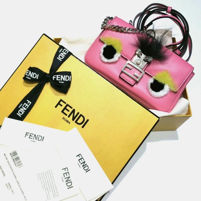 e4e56ee90ca5 FENDI Micro Monster Baguette PINK 15.5cm x 8.5cm x 3cm