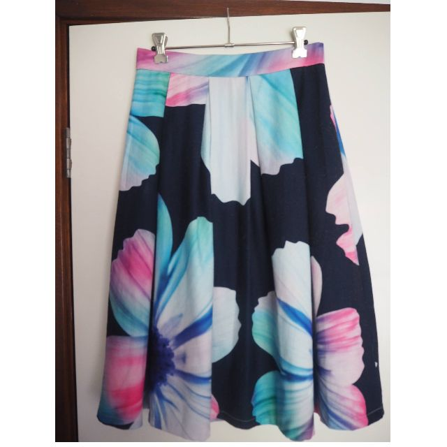 Floral Midi Maxi Skirt with Black, Pink and Teal - SIZE 8