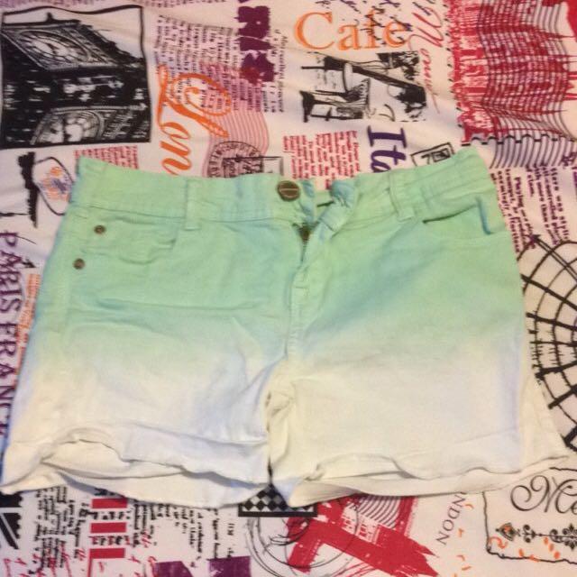 Green/white Ombré Shorts
