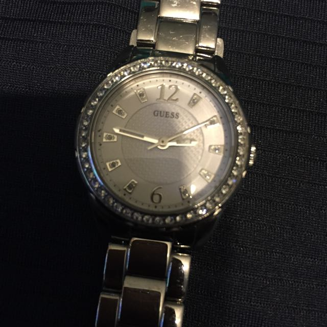Guess Silver Watch with Crystals