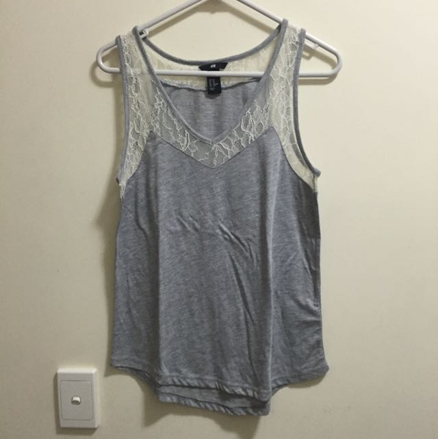 H&M Grey Lace Tank Top