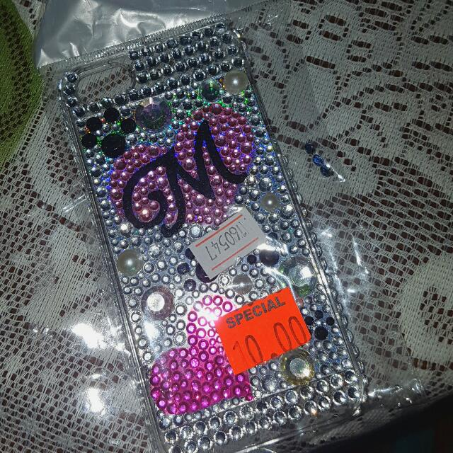 iPhone Five case With Silver and Black and Pink Crystals