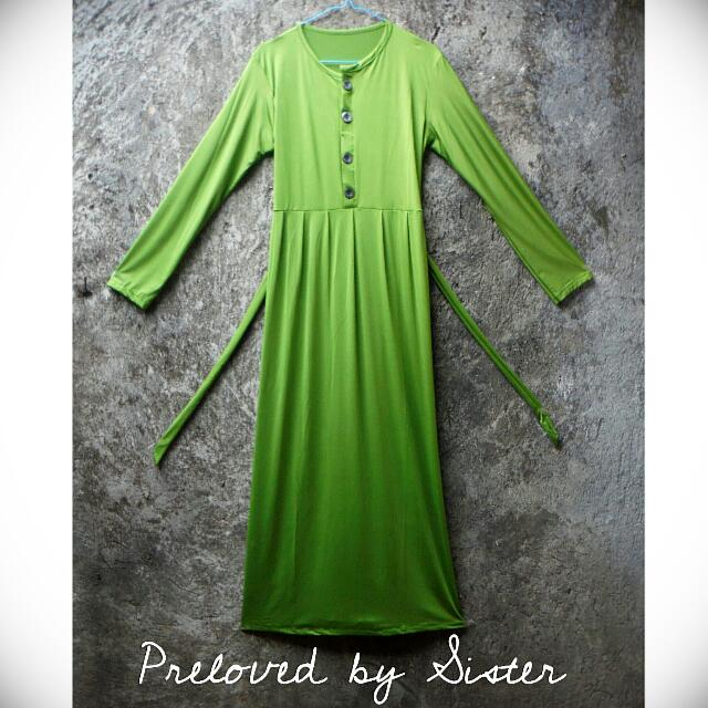 Long Dress Sleeve Hijau Lumut (Busui Friendly)