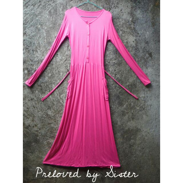 Long Dress Sleeve Pink (Busui Friendly)