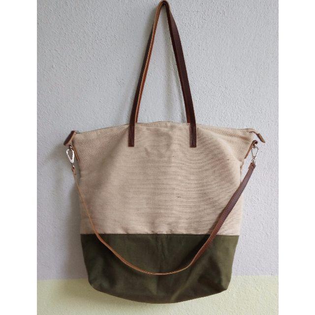 MANGO Green Jute Cotton-Blend Bag