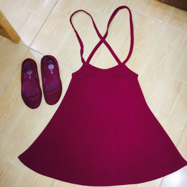 Maroon  Jumper Skirt