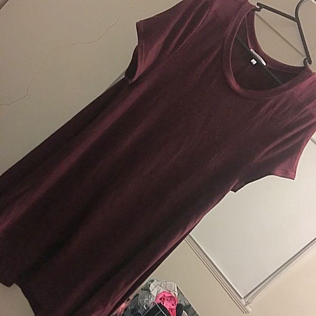 Maroon T-shirt Dress