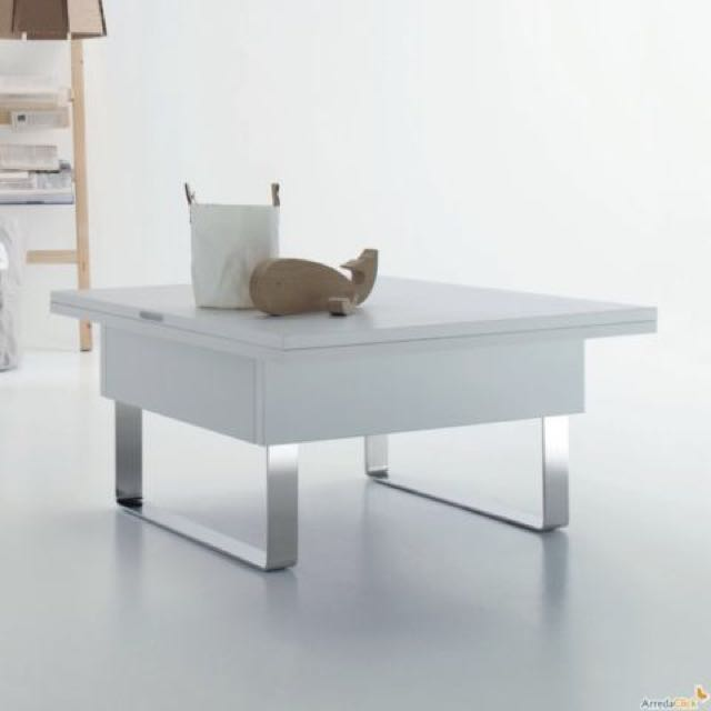 New Modern White (high gloss) Convertible Coffee Table