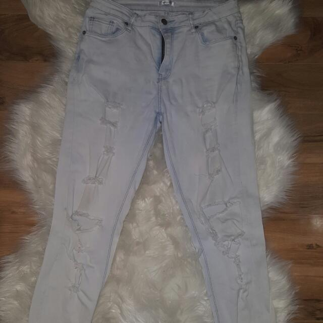 Pale Blue Ripped Straight Jeans