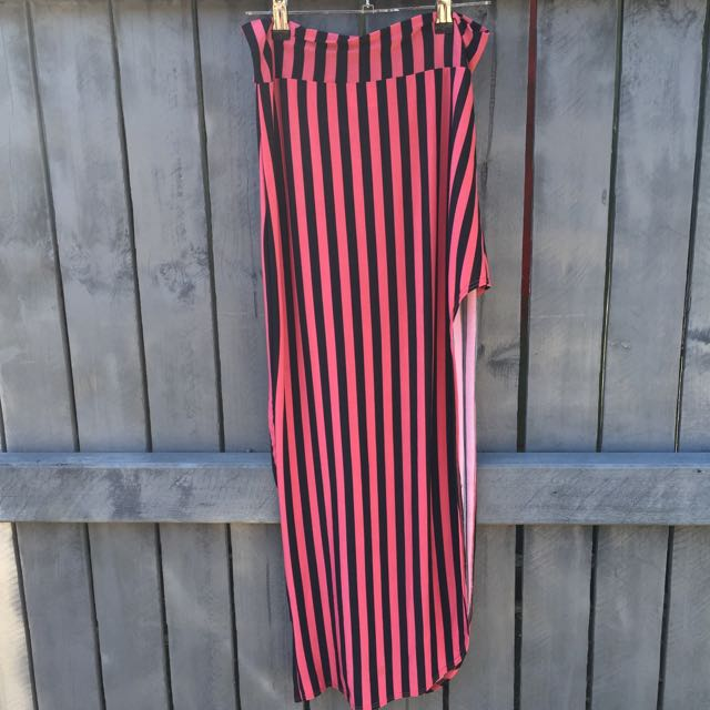 Pink And Black Stripped Skirt (with side slit)