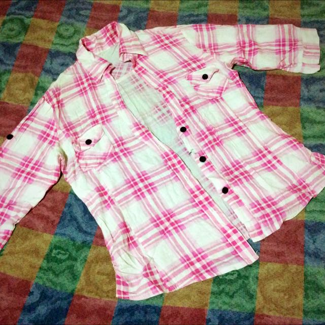 Pink Checkered Polo Blouse