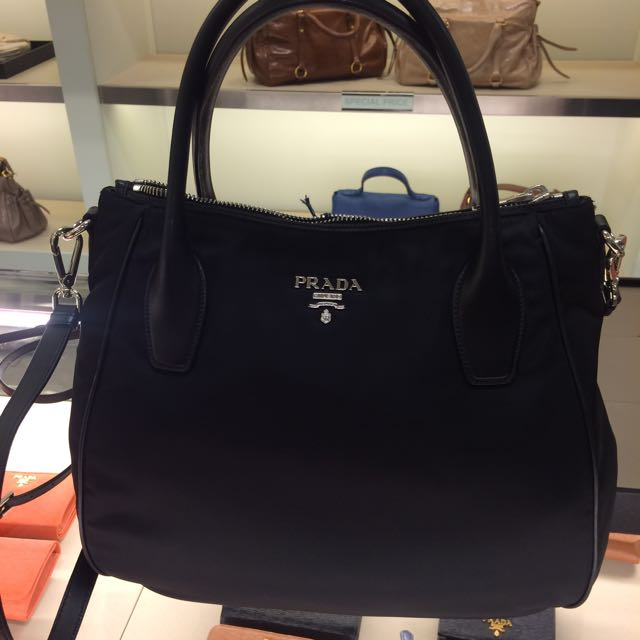 c059116f5d41a3 Prada Black Fabric Handbag With Leather Trim, Luxury, Bags & Wallets ...