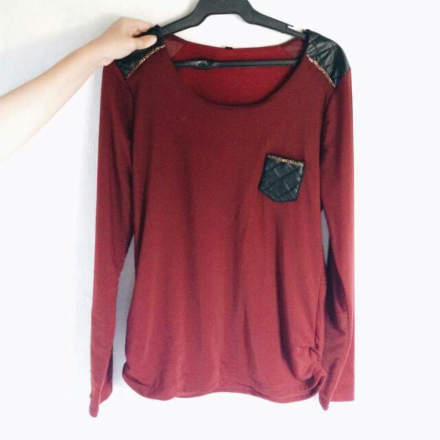 Red Black Gold Long Tee