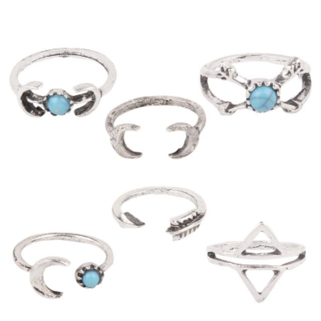 Sterling Silver Rings 6 Piece Set