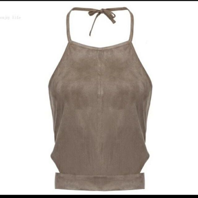 Taupe Cut Out Halter Top