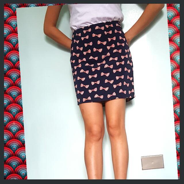 Unique Ribbon Mini Skirt