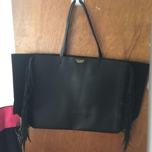 Victoria's Secret Black Fringe Bag