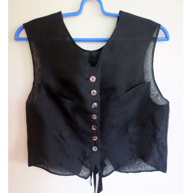 REPRICED! Vintage THEATRE (Bangkok) Sheer Vest w/ Back Ribbons