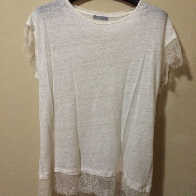 ZARA White T-shirt With Lace Linings