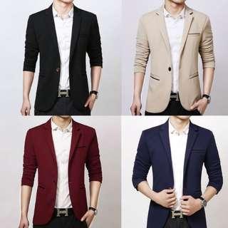 Men's Suit Coat Blazer Jacket Slim Fit Black Blue Maroon