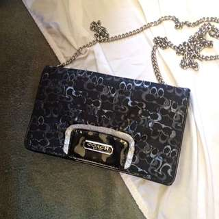 Authentic Coach Satchel (black And Silver)