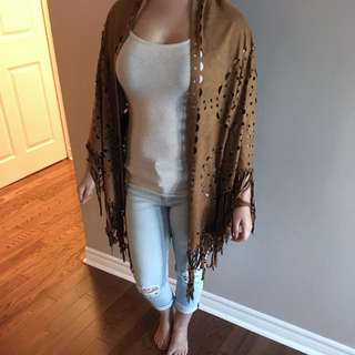 Brown Faux Suede Fringe Poncho