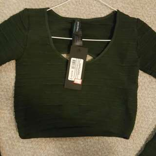 Marciano Olive Green Crop Top