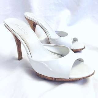 Aldo Patent Leather White Heels