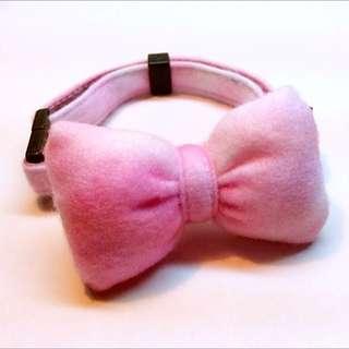 (全新)甜美粉紅白蝴蝶結項圈