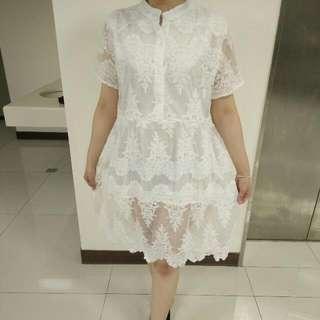 全新中山領寬鬆蕾絲洋裝