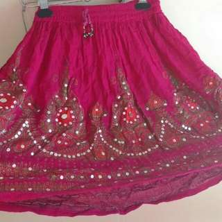Dark Pink Skirt With Sequins And Mirror Work