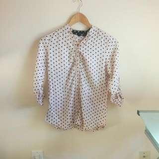 Quarter Sleeve Polka Dot Buttoned Shirt