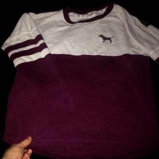 PINK burgundy and white shirt