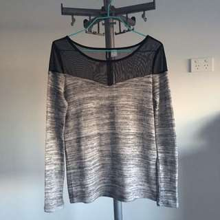 Long Sleeves Top in Grey And Black Meshed