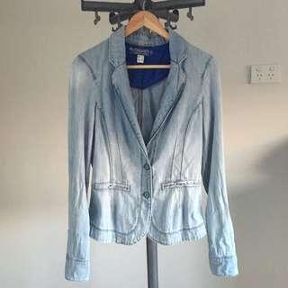 Denim Fitted Blazer Jacket (light shoulder pads)