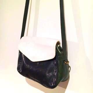 FURLA Leather Vintage Crossbody Handbag (white/black/green)