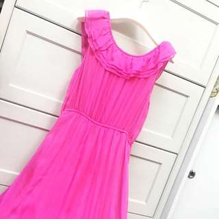 100% Silk Shocking Pink Long Dress