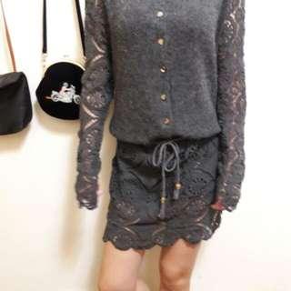 商品保留2天 正韓薄毛料蕾絲設計型洋裝